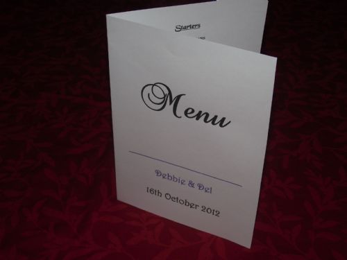 Menu with menu choice Personalised Elegant design for weddings or any occasion various colours